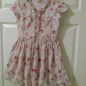 Girl's Lands' End pink canary button up dress